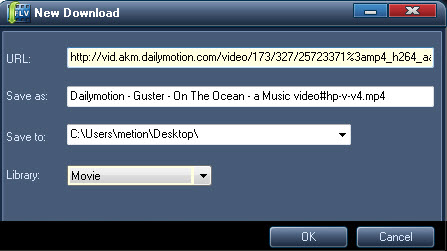 Start new Dailymotion video downloading task