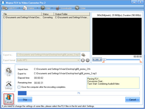 Wmv file audio from strip
