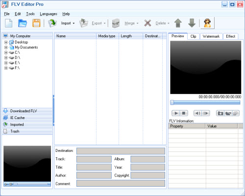 Click to view Moyea FLV Editor Pro 3.1.13.0 screenshot