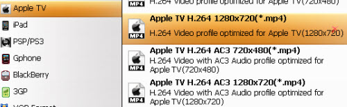 Select the best output format for Apple TV, H.264 MP4