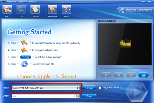 Convert MTS/M2TS video clips from AVCHD camcorders to Apple TV